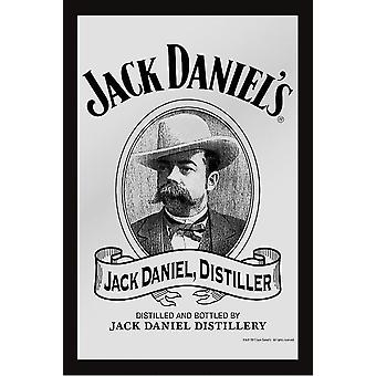 Jack Daniel's Spiegel Old Destiller Wandspiegel mit schwarzer Kunststoffrahmung in Holzoptik.