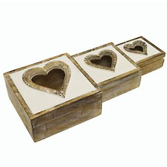 Heart -  Set Of Three Wood Decorative Storage Boxes - White / Brown