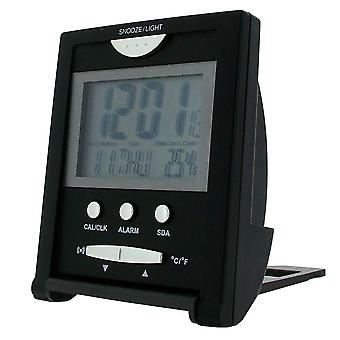 Gift Time Products Travel Temperature Alarm Clock - Black