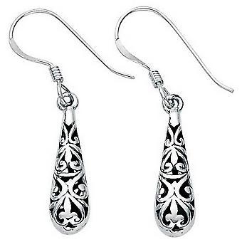 Beginnings Small Filigree Teardrop Drop Earrings - Silver/Black