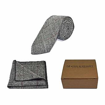 Luxury Herringbone Pewter Grey Tie & Pocket Square Set - Tweed, Plaid Country Look | Boxed