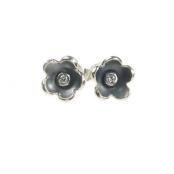 Cavendish French Oxidised Sterling Silver and CZ Simple Flower Earrings