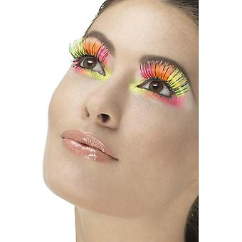 80's Party Eyelashes, Neon, Multi-Coloured with Black Stripe, Contains Glue