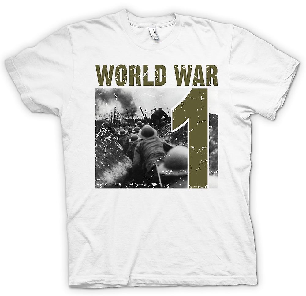 Mens t-shirt - guerra mondiale 1 - trincee e pistole di macchina
