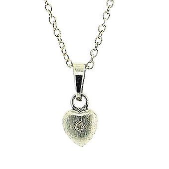 Jo For Girls Sterling Silver Crystal Set Matt Heart Pendant Necklace 14