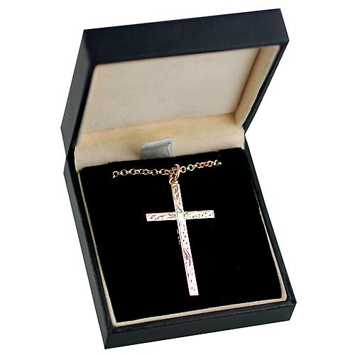9ct Red Gold 40x24mm Hand engraved solid block Cross with a belcher chain