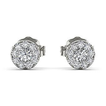 IGI Certified Natural 10k White Gold 0.33 Ct Diamond Stud Earrings Pushbacks