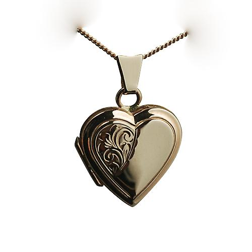 9ct Rose Gold 17x17mm half hand engraved flat heart Locket with a curb chain