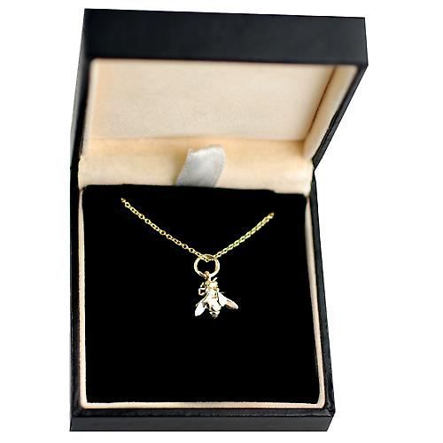 9ct Gold 10x11mm Bee Pendant with a cable Chain 16 inches Only Suitable for Children