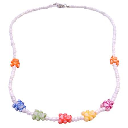 Teddy Bear Beads Jewelry Gift Item White Beaded Necklace w/ Bear Beads