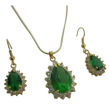Victorian Pendant Earrings Set Emerald Gold Holiday Gift Jewelry Set