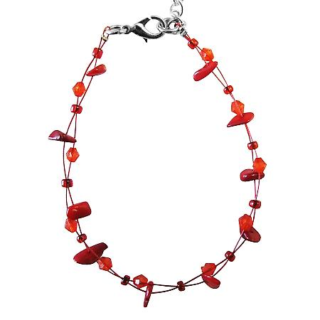 Coral Nugget Bracelet Coral Glass Bead Inexpensvie Red Trendy Bracelet