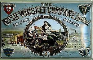 Irish Whiskey Company Belfast embossed metal sign   (hi 2030)