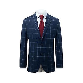 Dobell Mens Navy dressjakke passer vanlig hakk jakkeslaget blå vindusrute av