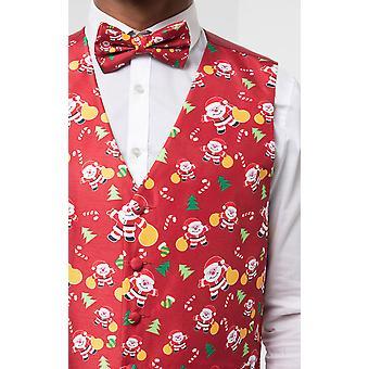 Dobell Mens rosso felice Babbo Natale gilet vestibilità regolare