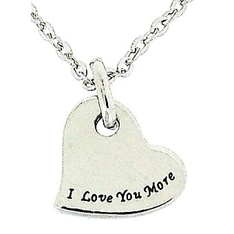 TOC Silvertone 'I Love You More' Love Heart Pendant On 18 Inch Chain