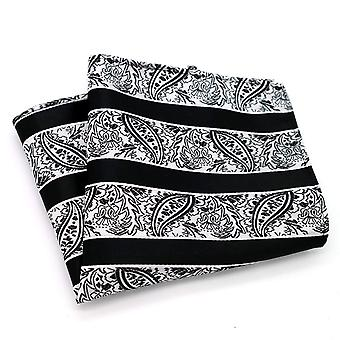 Black & white stripe paisley patterned pocket square