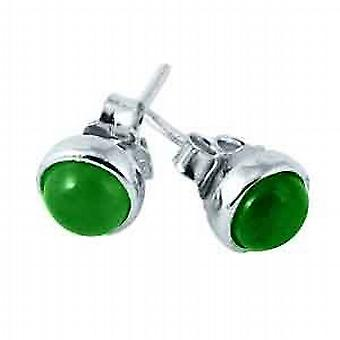 TOC Sterling Silver Jade Set Round Stud Earrings 6mm