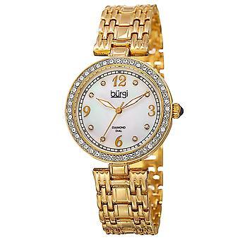 Burgi Women's Mother of Pearl Swarovski Accented Crystal Bezel Watch BUR136YG