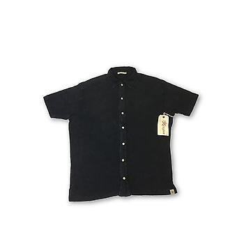 Agave Lux 'Yolla' polo shirt in black textured tencel stripe