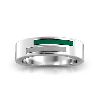 Slippery Rock University Asymmetric Enamel Ring In Green And Grey