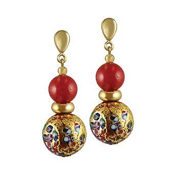 Eternal Collection Mosaic Millefiori/Scarlet Venetian Murano Glass Drop Pierced Earrings