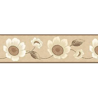 Fine Decor Carissa Cream Floral Wallpaper Border Beige Gold Metallic Flowers