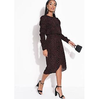 Velvet Leopard Pleated Print Polka Dot Wrap Midi Skirt Black
