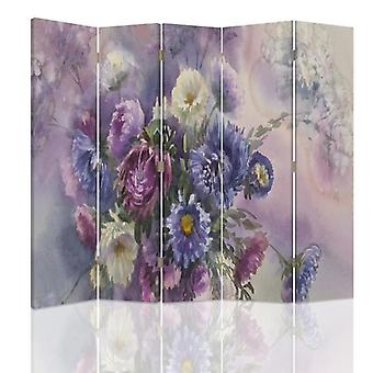 Room Divider, 5 Panels, Double-Sided, 360 ° Rotatable, Canvas, Bouquet Of Flowers