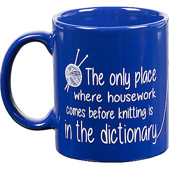 Knit Happy Blue Mug 11oz-Dictionary KH182
