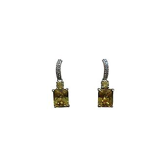 Elegant statement earrings with yellow rhinestones