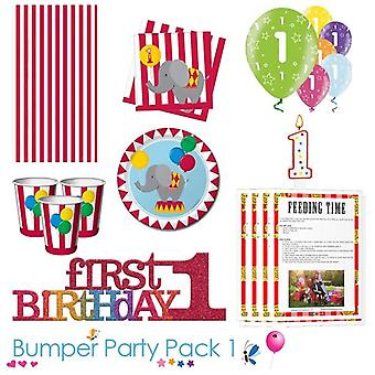 Circus Time 1st Birthday Party Tableware Bumper Pack 1