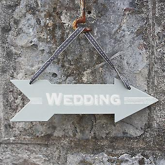 East of India Cardboard Wedding Arrow Direction Sign with Ribbon