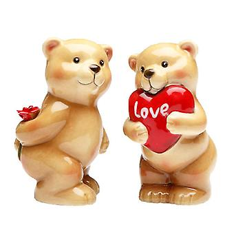 Valentines Day Heart Love Bear Salt and Pepper Shakers Set
