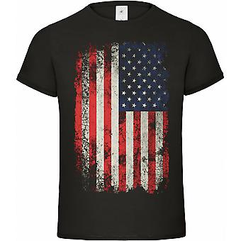 United States T-Shirt flag vintage black style S M L XL XXL