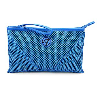 W7 Blue Mesh Large Cosmetic Toiletry Make Up Bag