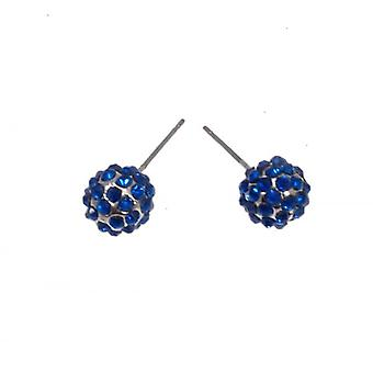 W.A.T Sparkling Blue Crystal Glitterball Fashion Earrings
