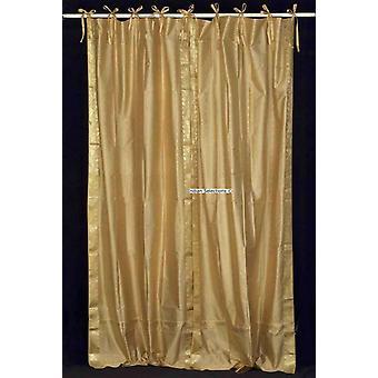 Goldene Krawatte Top schiere Sari Vorhang / drapieren / Panel - paar