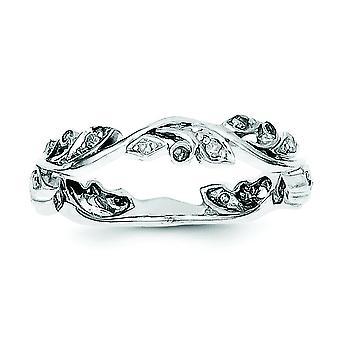 Plata de ley pulida anillo de rodio plateado diamante - tamaño del anillo: 6 a 8