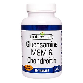 Natures Aid Glucosamine 500mg MSM 500mg + Chondroitin 100mg (with Vit C) , 90 Tablets