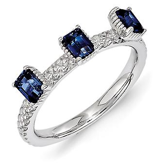 2.5mm Sterling Silver Polished Prong set Rhodium-plated Stackable Expressions Created Sapphire Three Stone Ring - Ring S