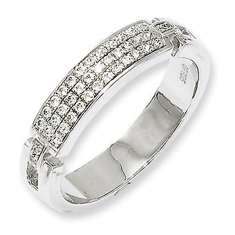 Sterling Silver Pave Rhodium-plated and Cubic Zirconia Fancy Ring - Ring Size: 6 to 8