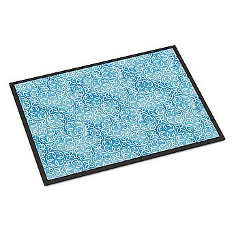 Watercolor Geometric Cirlce on Blue Indoor or Outdoor Mat 24x36