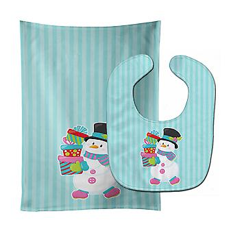 Christmas Snowman and Stripes Baby Bib & Burp Cloth