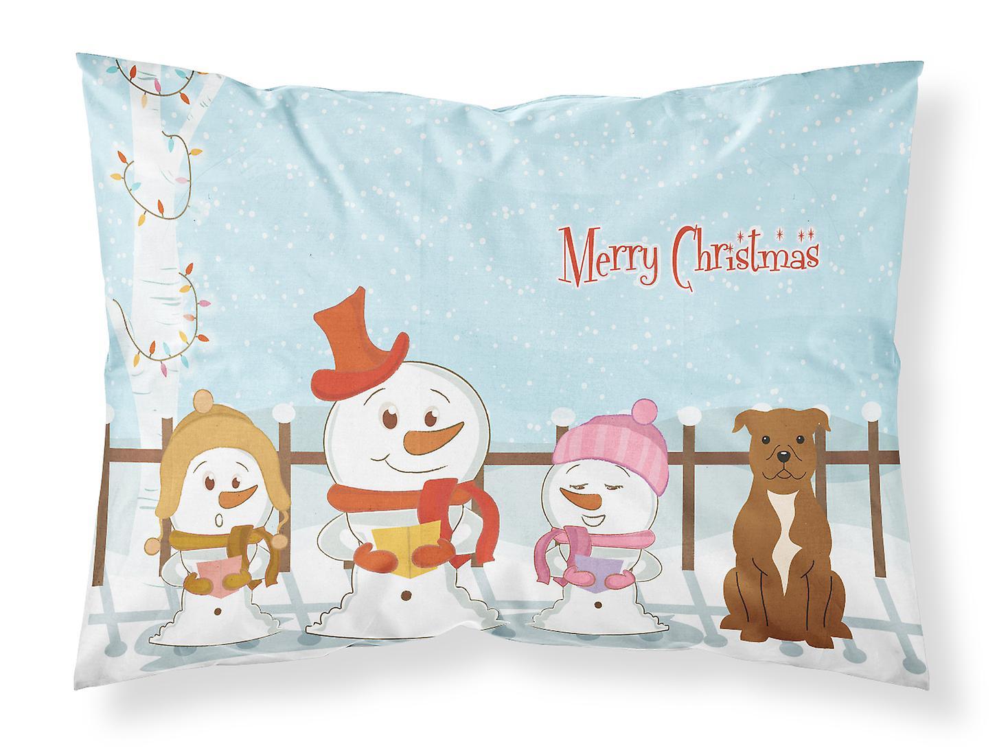 Tissu Noël Oreiller Bull Staffordshire Standard Marron Chanteurs Joyeux Terrier pSUzMVqG
