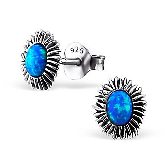 Flower - 925 Sterling Silver Opal And Semi Precious Ear Studs - W23666x