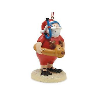 Santa In Wetsuit With Reindeer Float Christmas Holiday Ornament