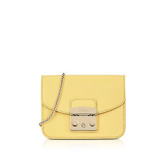 FURLA ladies 920311 yellow leather shoulder bag
