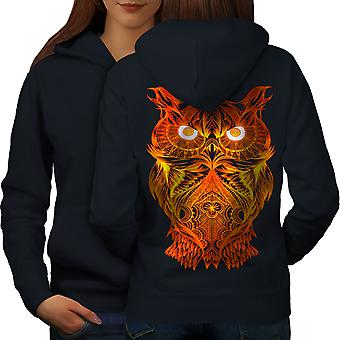Night Owl On Fire Women NavyHoodie Back | Wellcoda