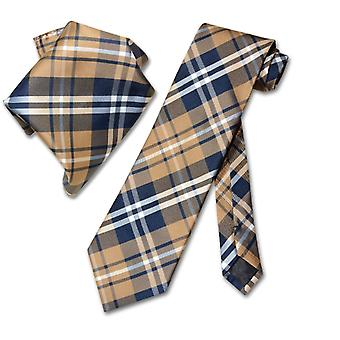 Vesuvio Napoli PLAID NeckTie & Handkerchief Matching Tie Set